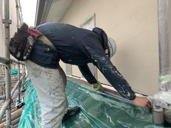 熊本市北区住宅塗装工事・養生・下塗り
