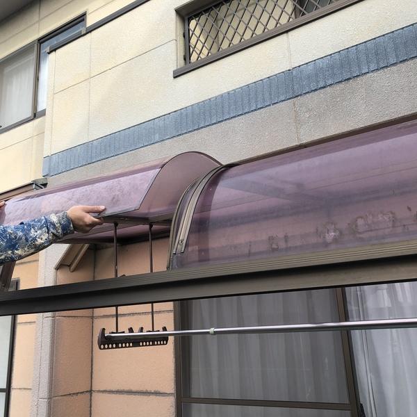 熊本市中央区国府住宅塗装・足場組前カーポートアクリル板取り外し工事