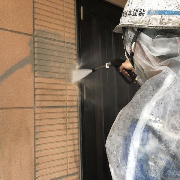熊本市中央区国府住宅塗装・住宅2件塗装前高圧洗浄工事