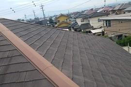 熊本県合志市須屋屋根塗装 地震被害平板スレート屋根補修専用 浸透型補修剤にて工事完了の施工前画像