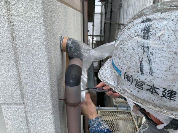 熊本市国府・住宅塗装工事・養生状況
