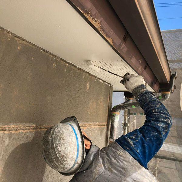 熊本市中央区国府住宅塗装工事・軒天井塗装