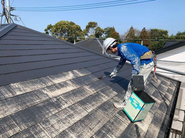 熊本市国府住宅塗装・屋根中塗り状況