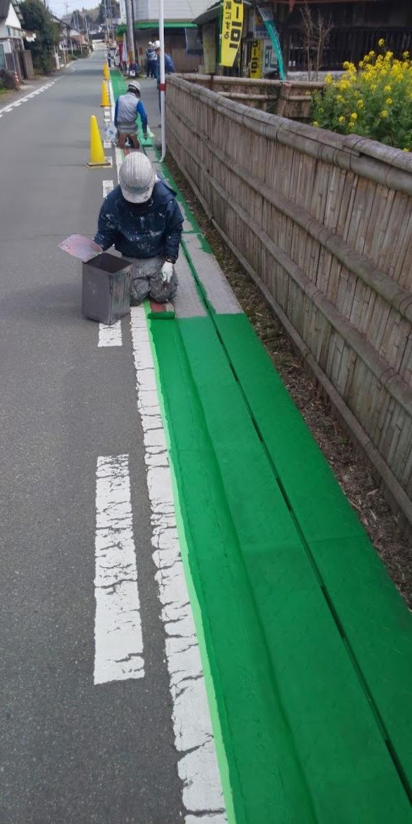 熊本県合志市道路舗装をカラー舗装塗料にて塗装