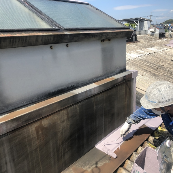 佐賀県みやき町工場屋根塗装工事・ベンチレーター錆止め