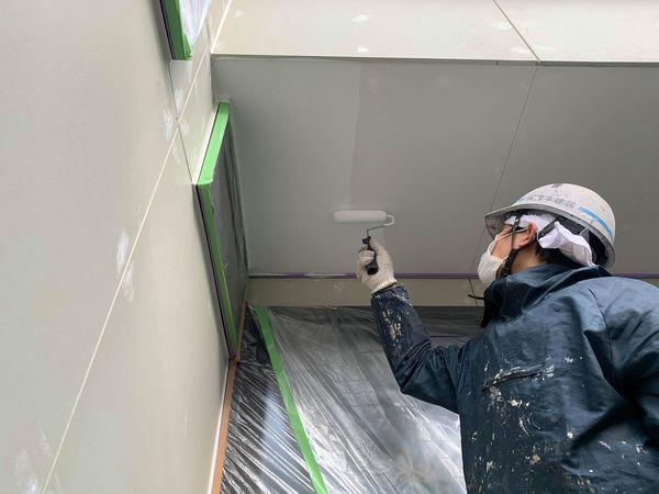 熊本市戸島外壁塗装工事・軒天井塗装
