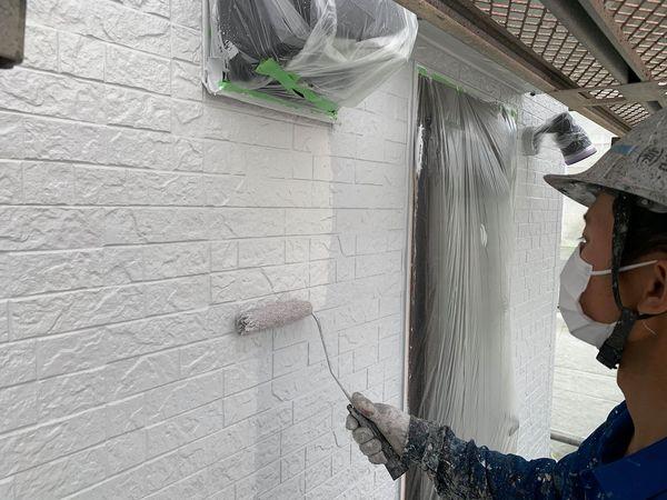 熊本県宇城市屋根外壁塗装工事・外壁上塗り