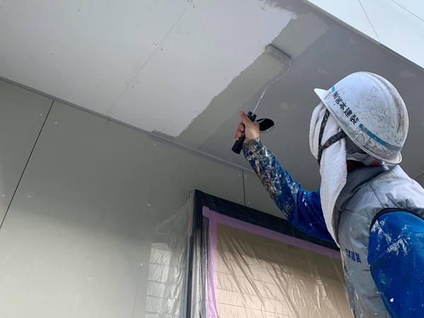 熊本市北区清水・外壁塗装工事(軒天井塗装)