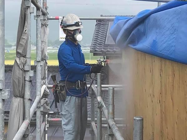 熊本県阿蘇市乙姫 住宅外壁木下地 カビクリーン工法(除カビ)
