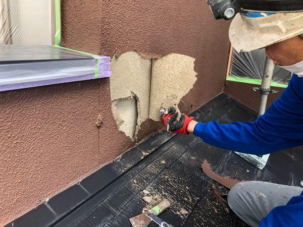 熊本市北区外壁塗装工事・下地処理