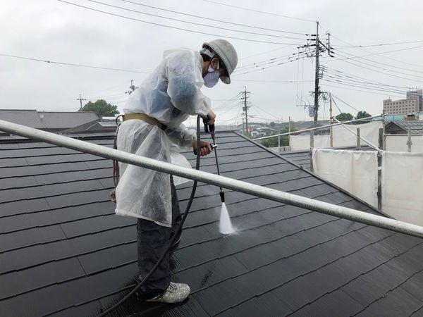 熊本市北区屋根塗装工事・高圧水洗浄