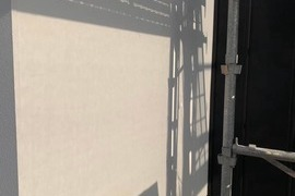 熊本市東区京塚 新築住宅 ベルアート柄付け外壁塗装工事(弾性)の施工前画像