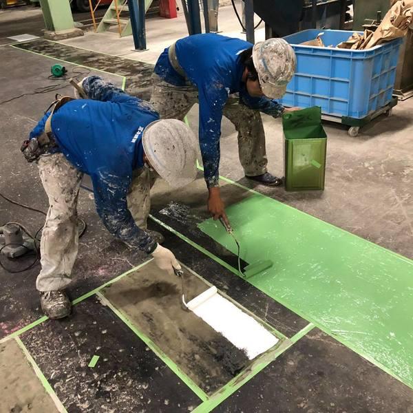 熊本県八代市・工場土間塗装(上塗り1回目)