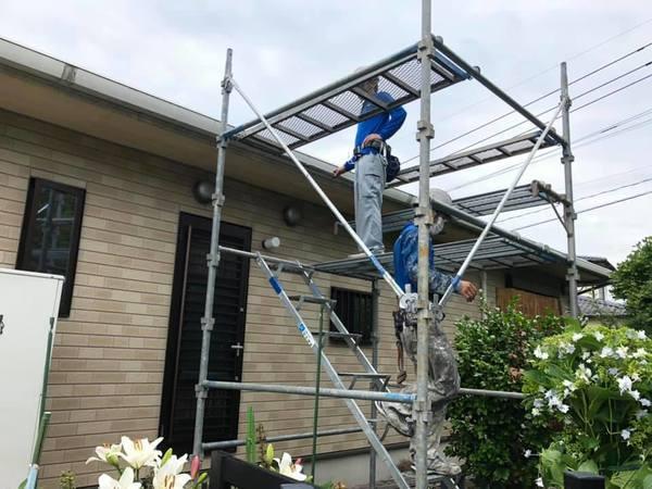 熊本県上益城郡 平屋大屋根ネフレッシユシリコンRC-142 フォレストグリーンにて屋根塗装工事