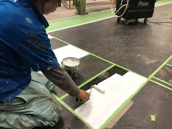 熊本県八代市・工場歩道塗装・横断歩道塗装