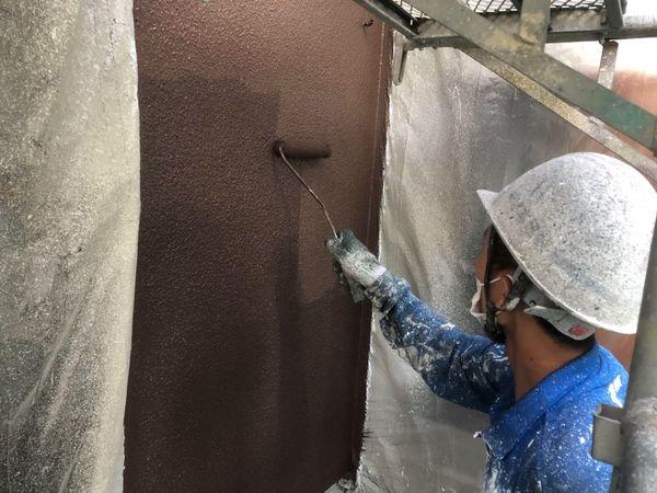 熊本市北区・外壁塗装・上塗り (水性シリコン)