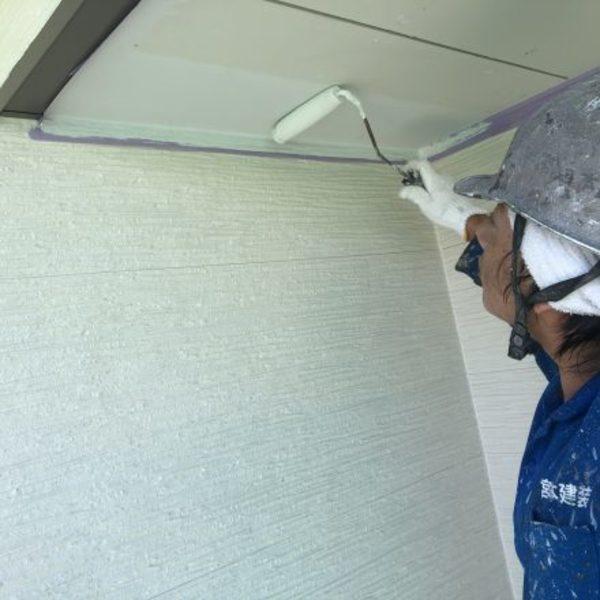 熊本県上益城郡・外壁塗装(軒天井塗装完了)
