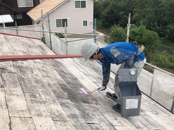 熊本県上益城郡御船町・屋根塗装・下塗り