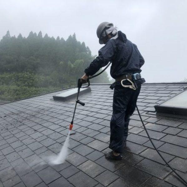 熊本県山都町・屋根塗装(高圧洗浄)