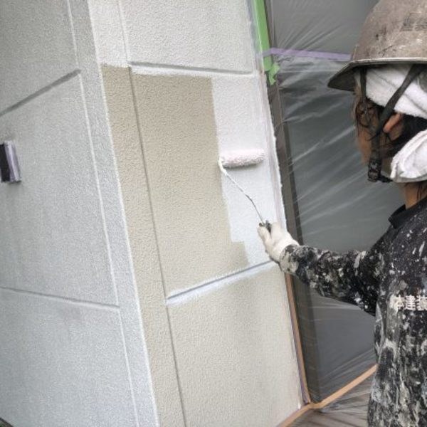 熊本市東区・外壁塗装(下塗り完了)