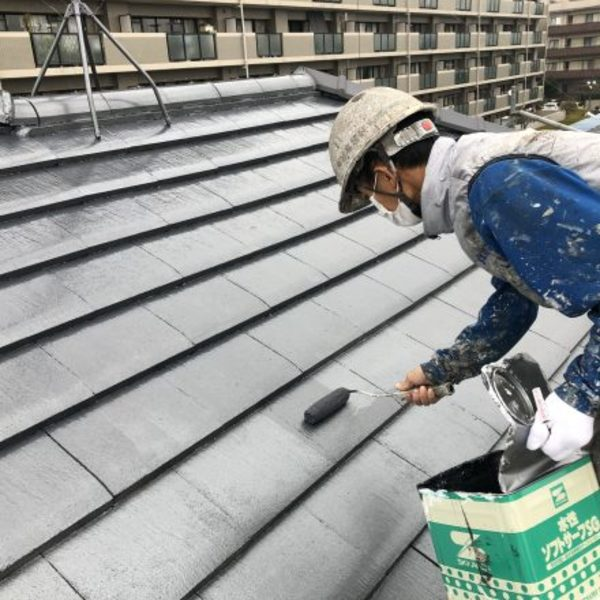 熊本市東区・屋根塗装(上塗り)