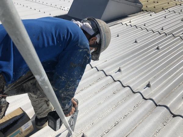 熊本県八代市工場屋根塗装・安全対策(三脚設置)