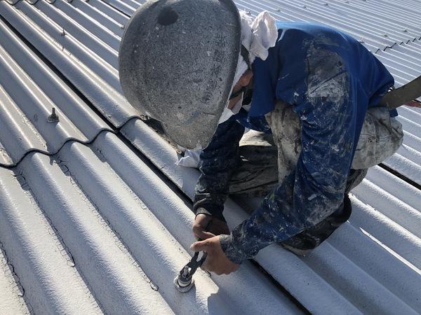 熊本県八代市・屋根塗装工事(ボルトキャップ撤去)