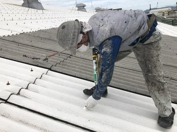 熊本県八代市・屋根塗装工事・ボルトキャップ取付