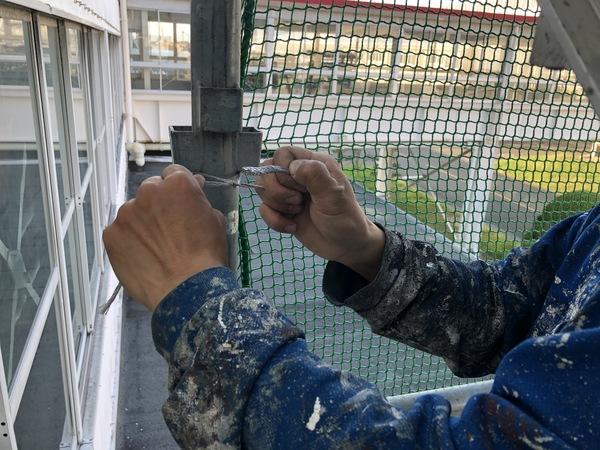 熊本県八代市・スレート屋根修繕工事・安全対策(ネット張り)