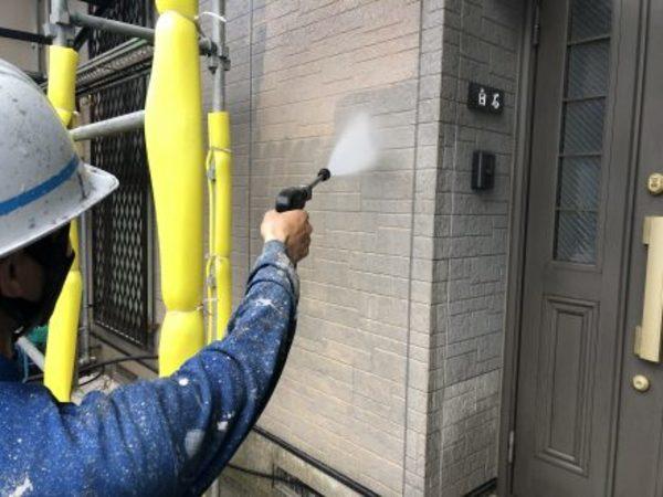 熊本市中央区・外壁塗装(塗装前高圧洗浄)
