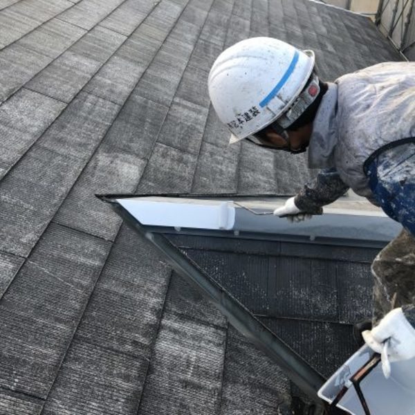 熊本市北区・屋根塗装(板金錆止め)