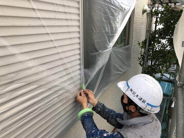 熊本市南区・外壁塗装(養生作業)
