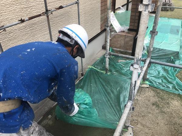 熊本市南区・外壁塗装(養生撤去)