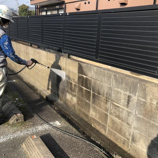 熊本市北区・外壁塗装工事(高圧水洗浄)