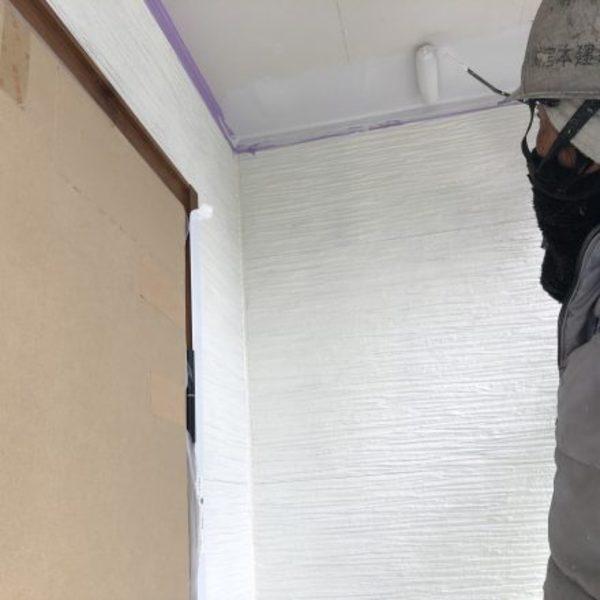 熊本市北区楠・外壁塗装(軒天井塗装完了)