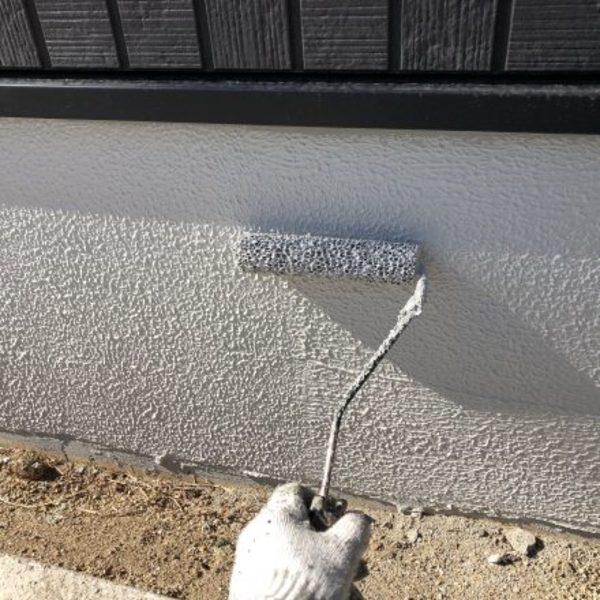 熊本県益城町・外壁塗装(基礎巾木塗装完了)