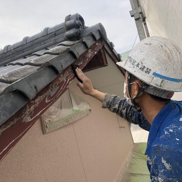 熊本県荒尾市・外壁塗装(破風、樋、付帯部塗装)