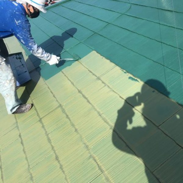 熊本県合志市・屋根塗装工事(中塗り)