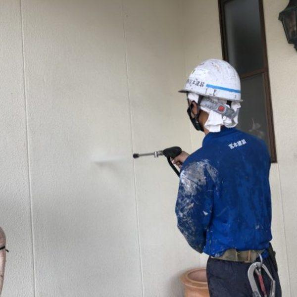 熊本県合志市・外壁塗装(高圧洗浄)