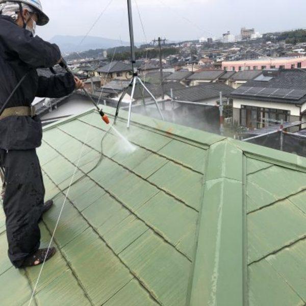 熊本県合志市・屋根塗装(高圧洗浄)