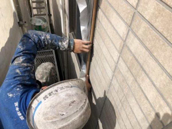 熊本市大江・外壁塗装工事(養生作業)