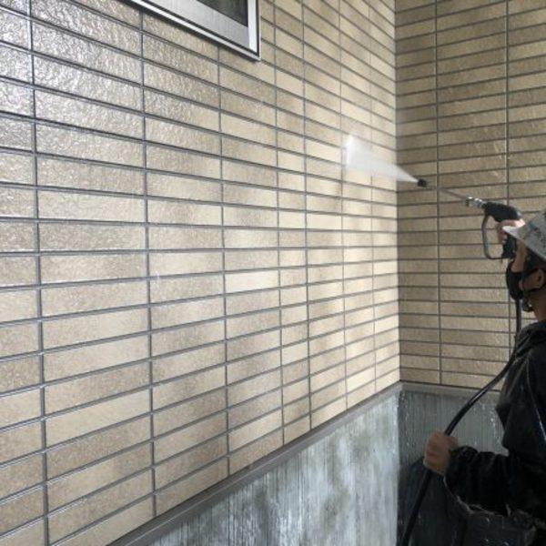 熊本市中央区大江・外壁塗装(塗装前高圧洗浄)