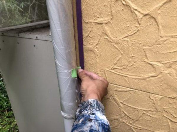 熊本市東区小山・外壁塗装(竪樋養生)