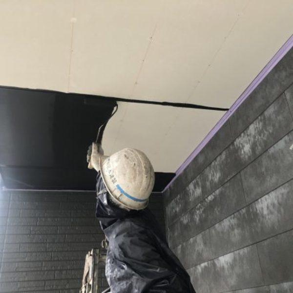 熊本市北区植木町・軒天井塗装(内外部用アクリル樹脂系つや消しエマルション塗料)