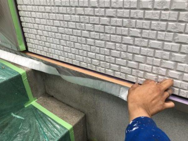 熊本県上益城郡・外壁塗装工事(巾木養生作業)