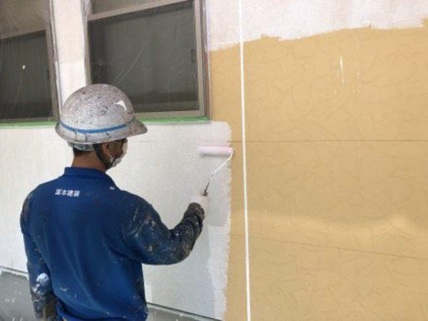 熊本市東区小山・外壁塗装(一液水性微弾性サーフェーサー)