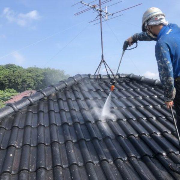 熊本市北区植木町・外壁、屋根等高圧洗浄完了!