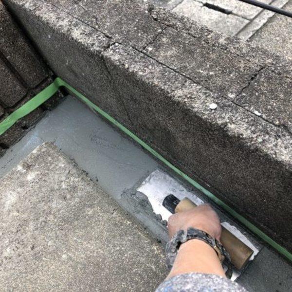 熊本市北区徳王・側溝陥没部分セメント補修