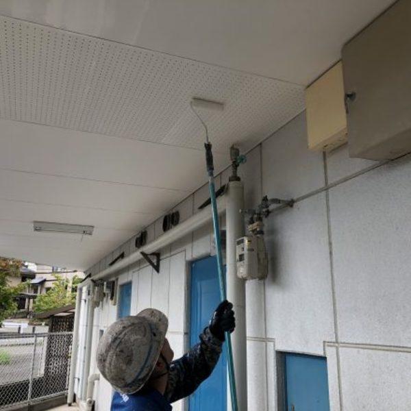熊本市西区花園・マンション共用廊下天井塗装完了!