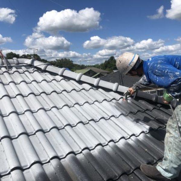 熊本市北区植木・屋根塗装(下塗り、ウルトラルーフプライマー使用!)